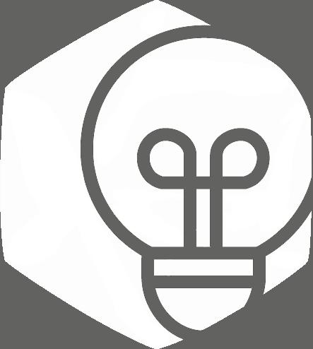 Vit hexagonformad ikon med lampa
