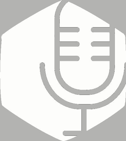 Vit hexagonformad ikon med mikrofon